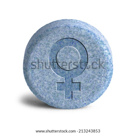 Large Blue Pill With a Female Symbol Isolated on White Background. - stock photo