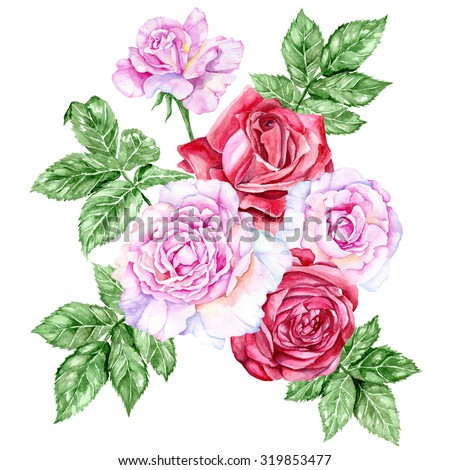 Large bouquet of red and pink roses. Watercolor illustration. - stock photo