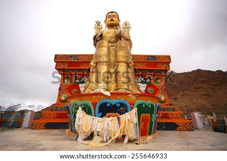 Large Budda image in monastry in the Indian state of Jammu and Kashmir - stock photo