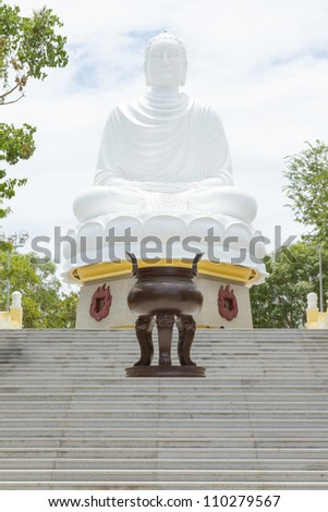 Large Buddha, landmark on Nha Trang, Vietnam - stock photo