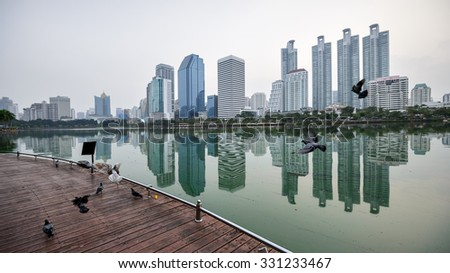 Large buildings cityscape in Bangkok,Thailand . - stock photo