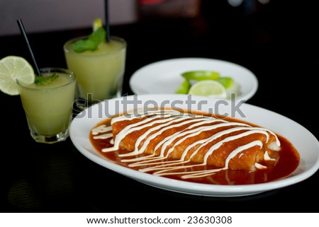 Large Burrito with Sauce and Fixings - stock photo