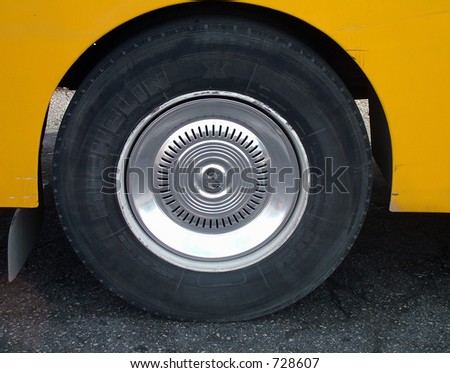 large bus tire - stock photo