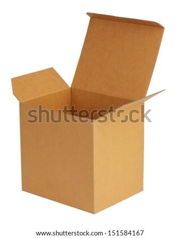 Large carboard box on a white background - stock photo