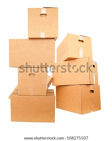 Large carton boxes - stock photo