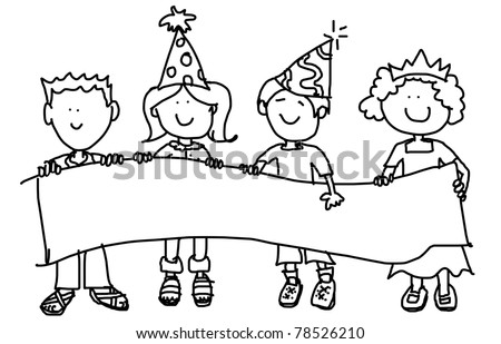 Large childlike cartoon characters: little kids, boys and girls, holding a very big blank banner and wearing party hats. - stock photo