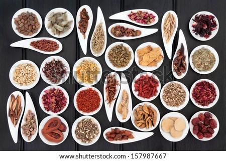 Large chinese herbal medicine selection in white porcelain dishes. - stock photo