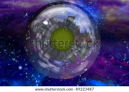 Large city ship orbits in space - stock photo