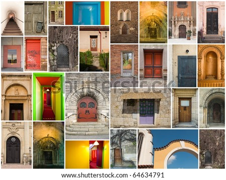large collage of different doors and gates from all over the Europe - stock photo
