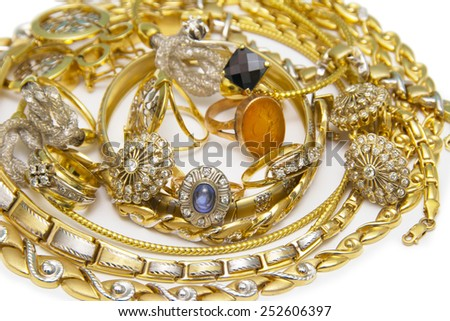 Large collection of gold jewellery - stock photo