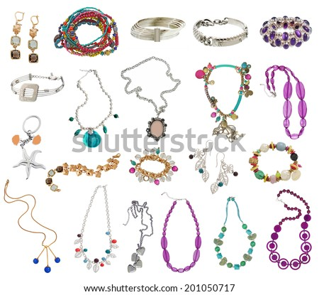 large collection of women's jewelery, isolated on white - stock photo