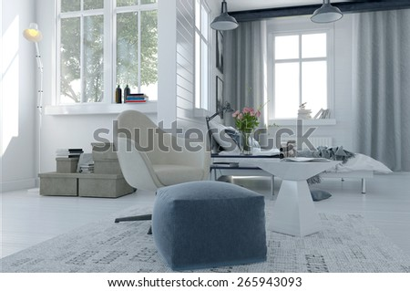 Large comfortable modern bed sitter interior with a bed and seating area in a spacious airy bright white room with grey decor and large windows. 3d Rendering - stock photo