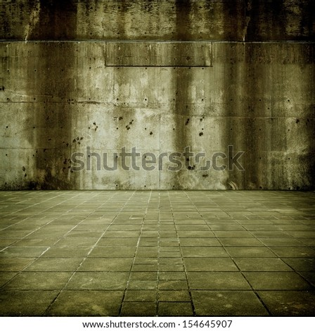 Large concrete space. Concrete wall and floor  - stock photo