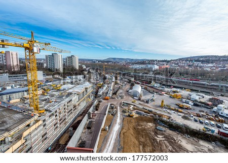 Large construction site - stock photo