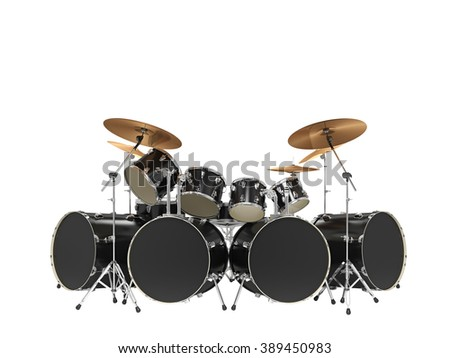 Large, cool, black drum kit. Isolated on white - stock photo