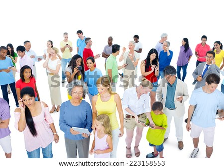 Large crowd of people casually dressed - stock photo