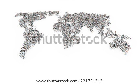 Large crowd of people forming a world map - stock photo