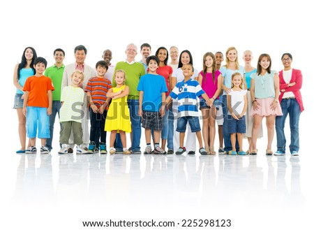 Large crowd of people standing up - stock photo