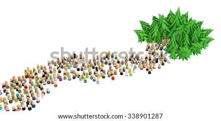 Large crowd of small symbolic 3d figures, way into forest, over white - stock photo