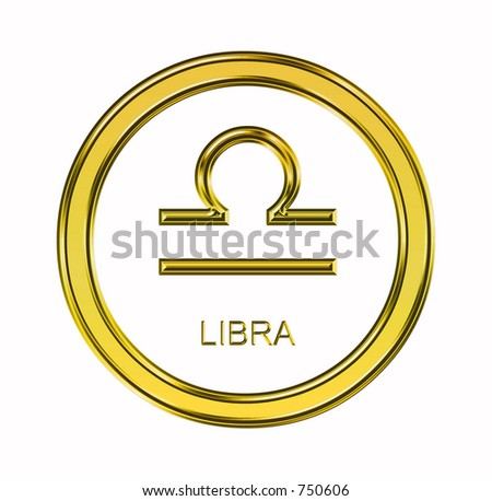 Large 3D gold libra symbol on pure white background - stock photo