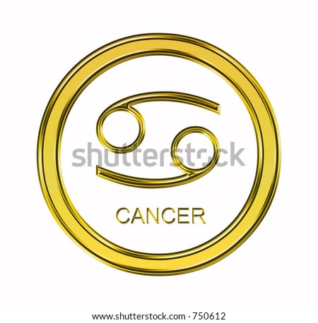 Large 3D gold virgo symbol on pure white background - stock photo