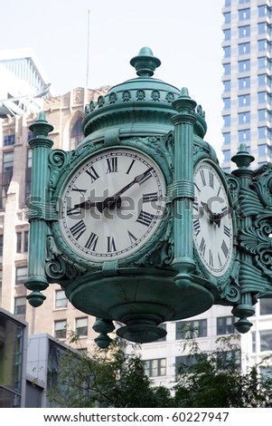 Large decorative clock in Chicago - stock photo
