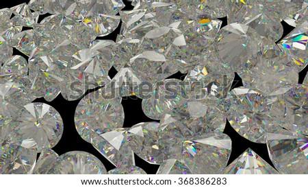Large Diamonds and gemstones isolated on black background - stock photo