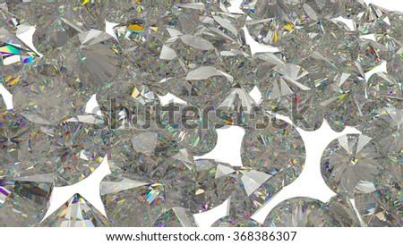 Large Diamonds and gemstones isolated on white background - stock photo