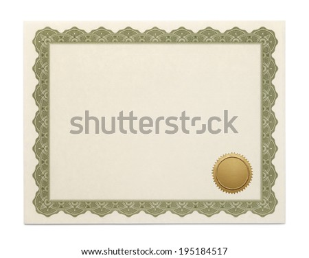 Large Diploma with Copy Space and Seal Isolated on White Background. - stock photo