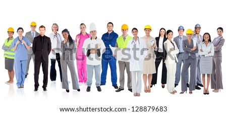 Large diverse group of workers on white background - stock photo