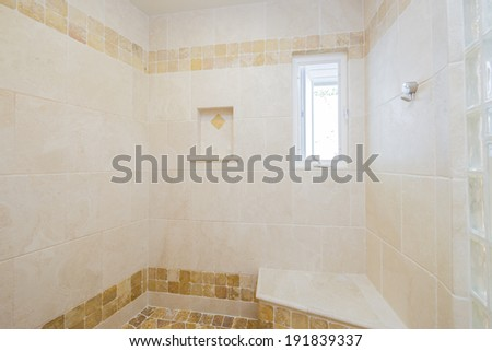 Large double entry marble shower - stock photo