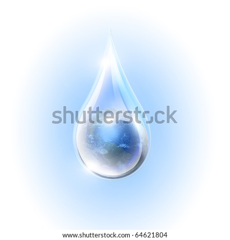 Large drops of the planet inside. Symbol of environmental protection - stock photo