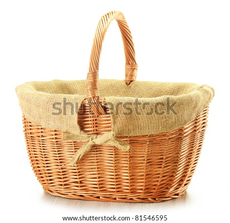 Large empty wicker basket isolated on white - stock photo
