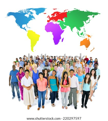 large ethnic group of people with colourful world's map - stock photo