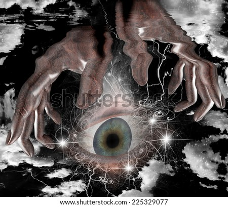 Large eye and hands - stock photo