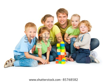 Large family with four children on a white background - stock photo