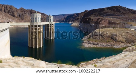 Large file size, wide angle composition of the Hoover dam Photo-stiched from several raw files with no upsizing or upsampling! - stock photo