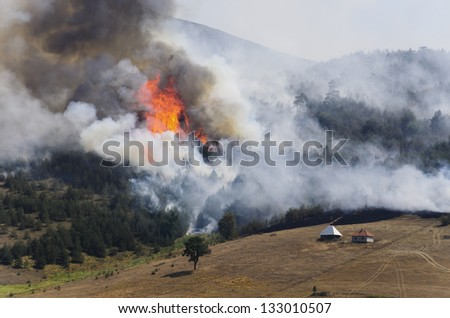 Large fire on Mountain. A fire swept through a forest and meadow. Log cabins are in danger. Thick smoke spread. - stock photo