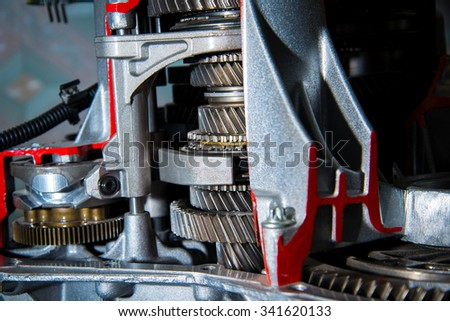 Large gears close up. Details of the engine - stock photo