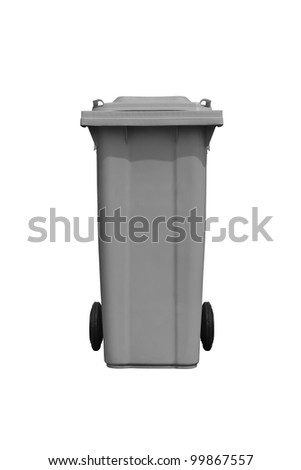 Large gray trash can (garbage bin) with wheel, isolated on white background - stock photo