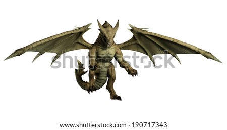 Large green dragon pouncing on its prey, 3d digitally rendered illustration - stock photo