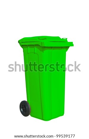 Large green garbage bin with wheel in white background - stock photo
