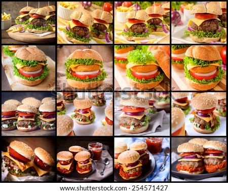 Large group of beef burgers  - stock photo