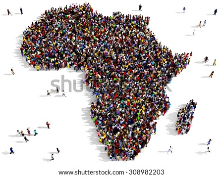 Large group of black and white people, seen from above, gathered together in the shape of Africa - stock photo