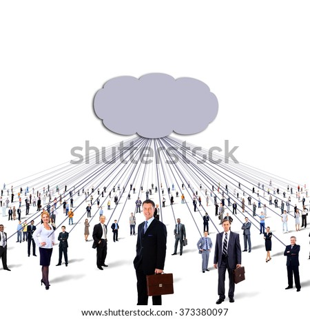 large group of business people and cloud computing and technology concept - stock photo
