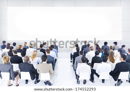 Large group of business people in presentation. - stock photo