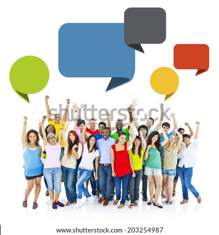 Large Group of Cheerful People Raising Hands - stock photo