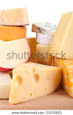 large group of cheeses - stock photo