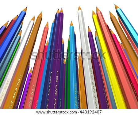 Large group of colored pencils. Colored pencils tightly pressed against each other. Colored pencils stand up tip. Isolated. 3d render. - stock photo
