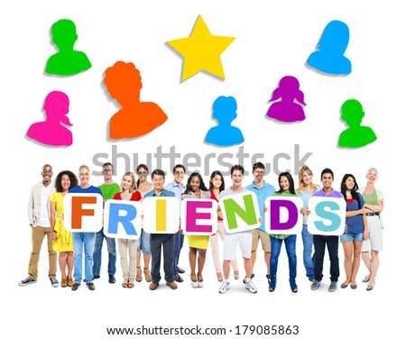 Large Group of Diverse Multi-ethnic People Holding Friends with Symbols - stock photo